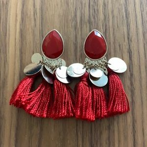 Red Tassle Earrings